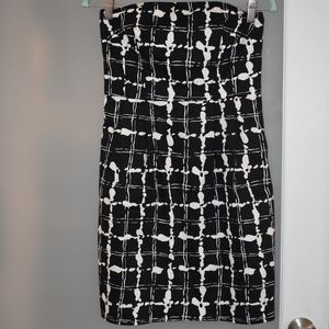 Black and white strapless dress from Express